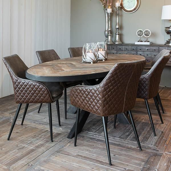 Beau Sussex Oak Parquet Industrial Oval Dining Table   Modish Living