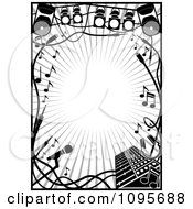 Clipart Black And White Stage Lighting Music Frame Royalty Free Vector Illustration