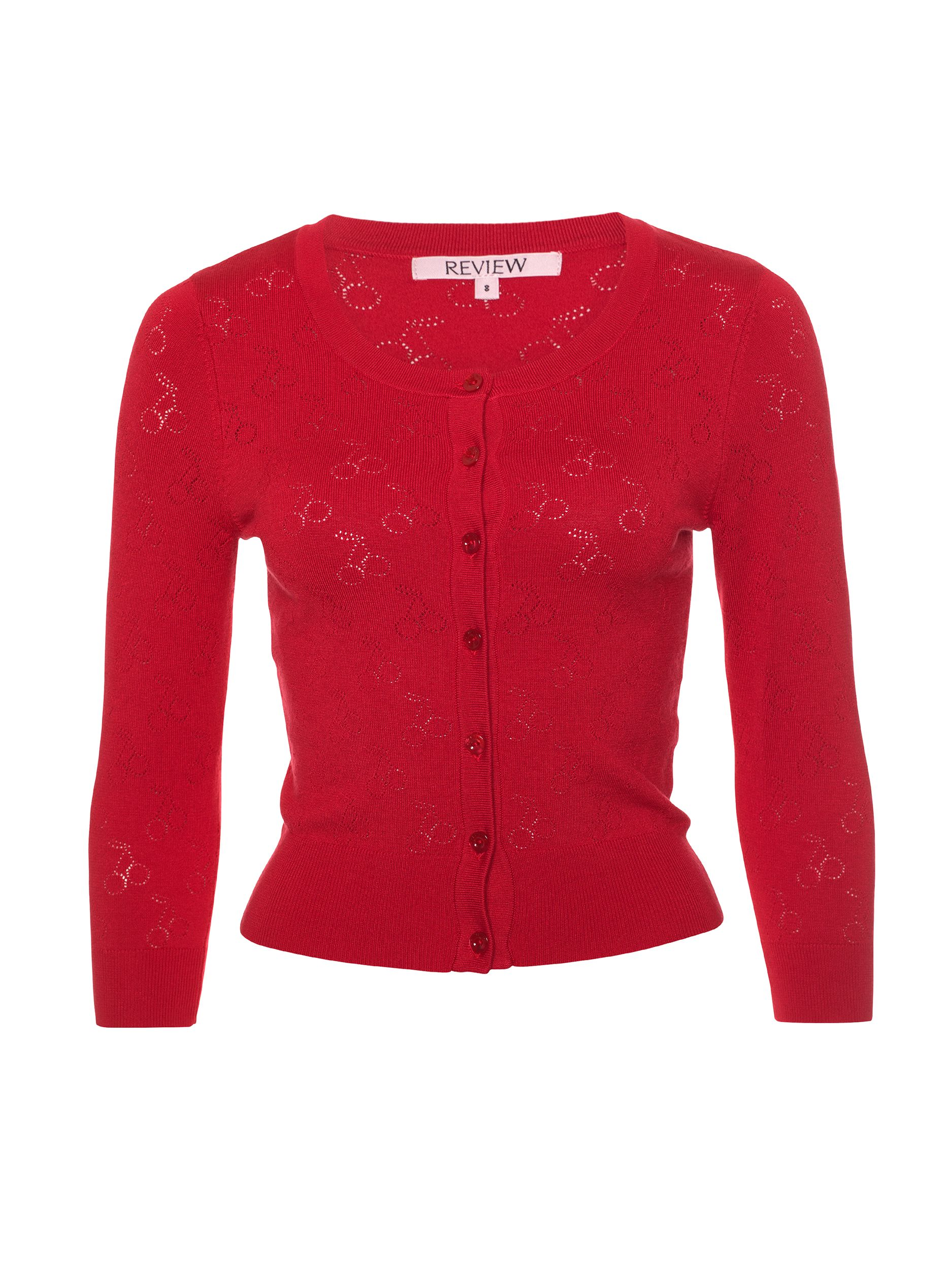 Turn Heads In Our Sweet Red Cherry Pie Cardi Perfect For Pairing With Your Favourite Summer Dress Or Adding A Pop Of Colou Review Clothing Work Wardrobe Cardi
