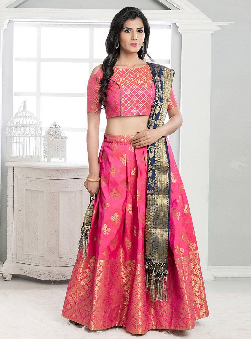 Pink Banarasi Silk A Line Lehenga Choli 118464 Silk Lehenga Designer Lehenga Choli Lehenga Choli,Simple False Ceiling Designs For Living Room In India
