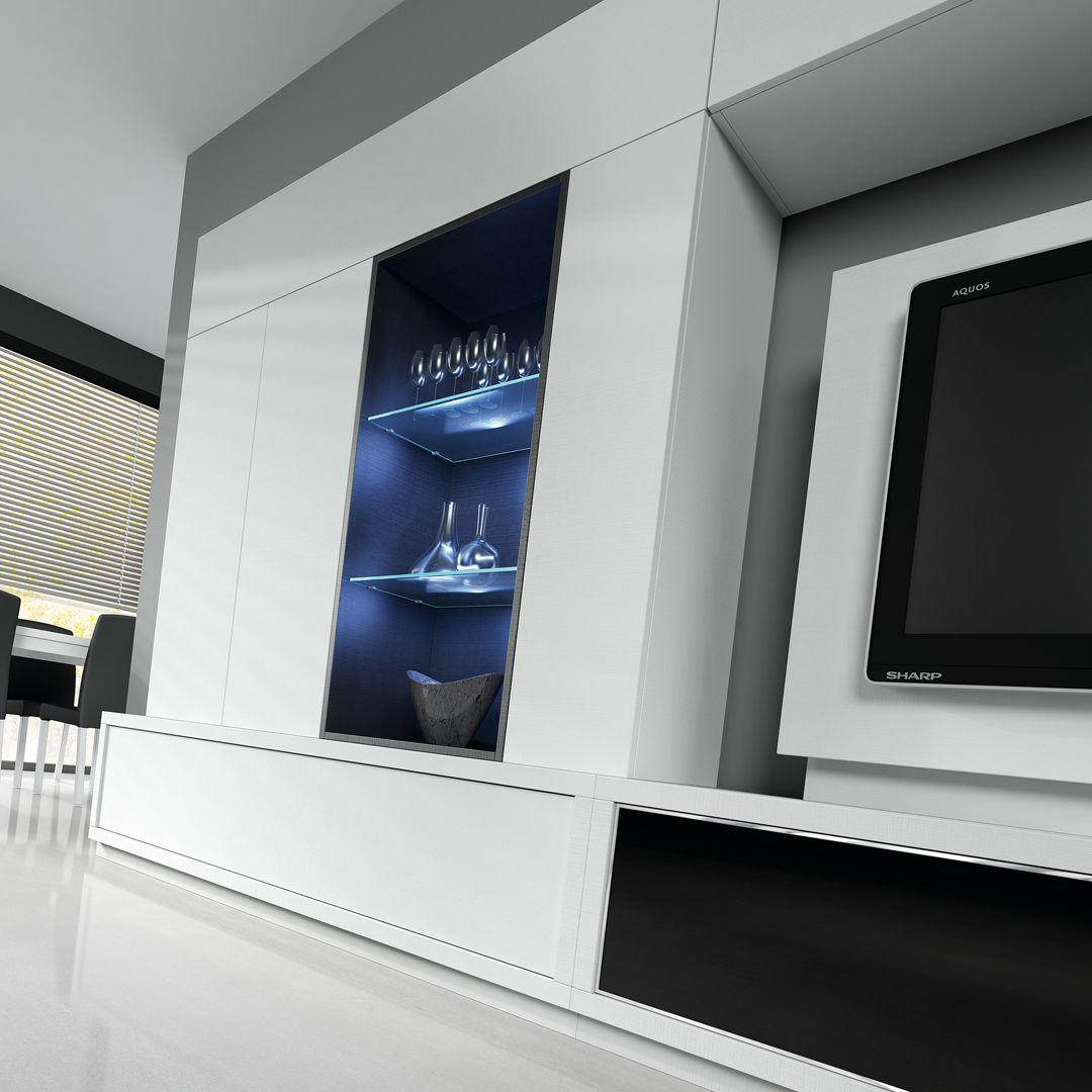 Sal N Comedor Con Mueble Tv Blanco Detalle Ambiente 1912  # Muebles Baixmoduls
