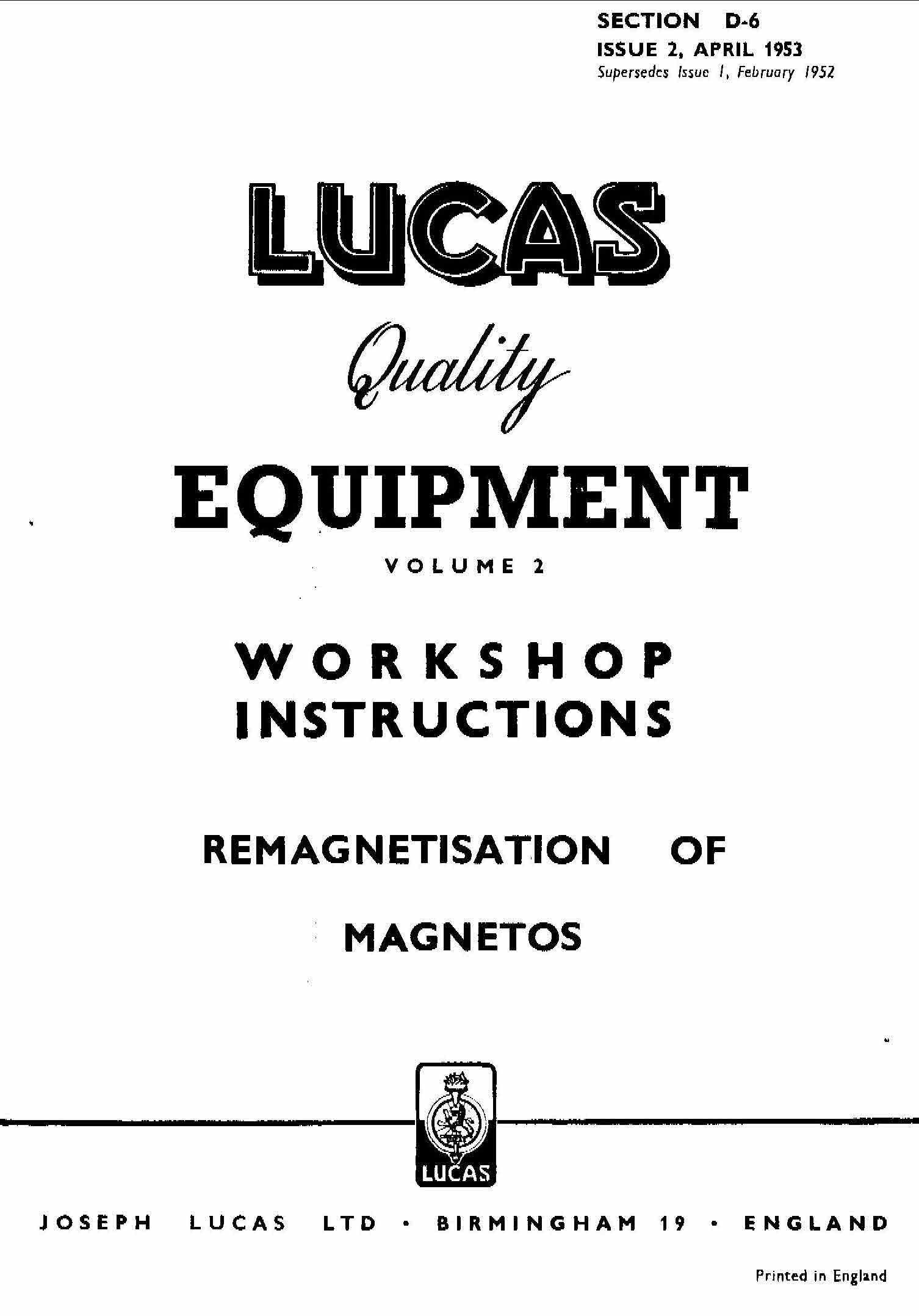 Lucas Electrical Motorcycle Workshop Instructions 1952 1961 Motorcycle Workshop Lucas Electrical Hard To Find Books