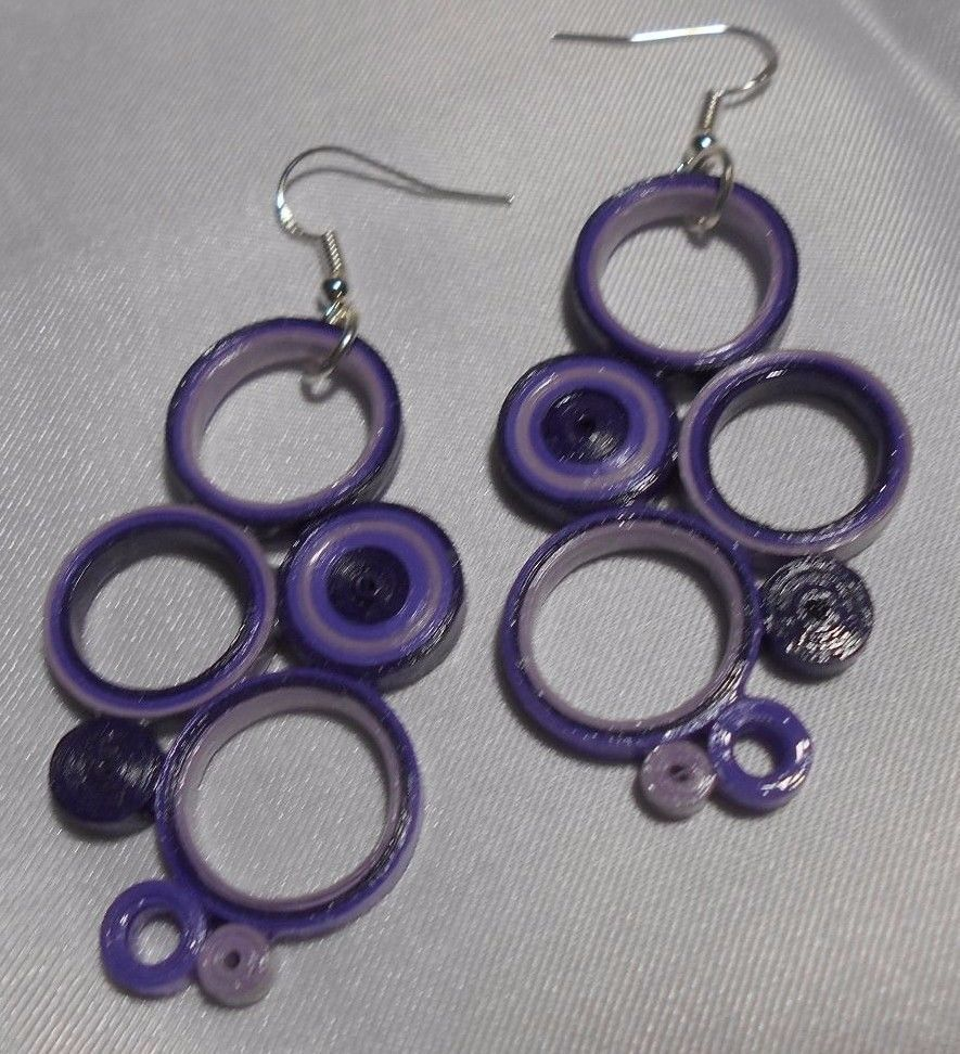 "Purple and Violet Handcrafted Paper Earrings Large 2.5"" Circles Drop Dangle #Handmade #DropDangle"