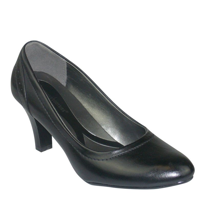 A classic black pump compliments any work attire or special event ...
