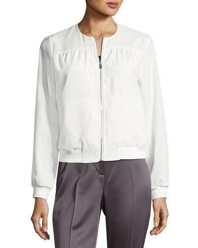 Mixed-Media Bomber Jacket, White