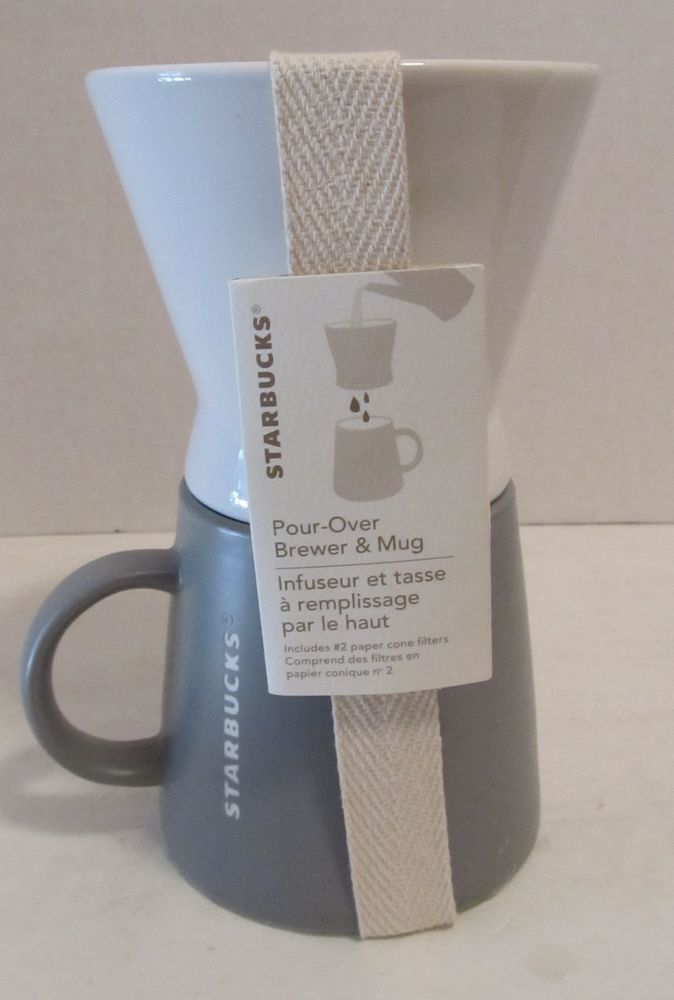 Starbucks Pour Over Brewer And Mug Set 16 Oz New With Filters