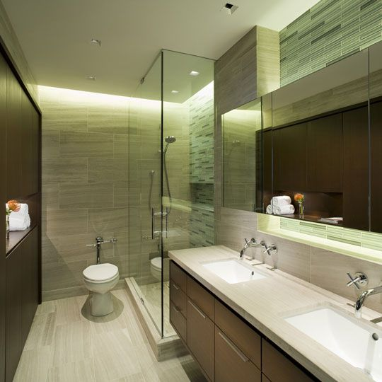 i like the colors in this bathroom dark wood and green tones on the wall - Small Designer Bathroom
