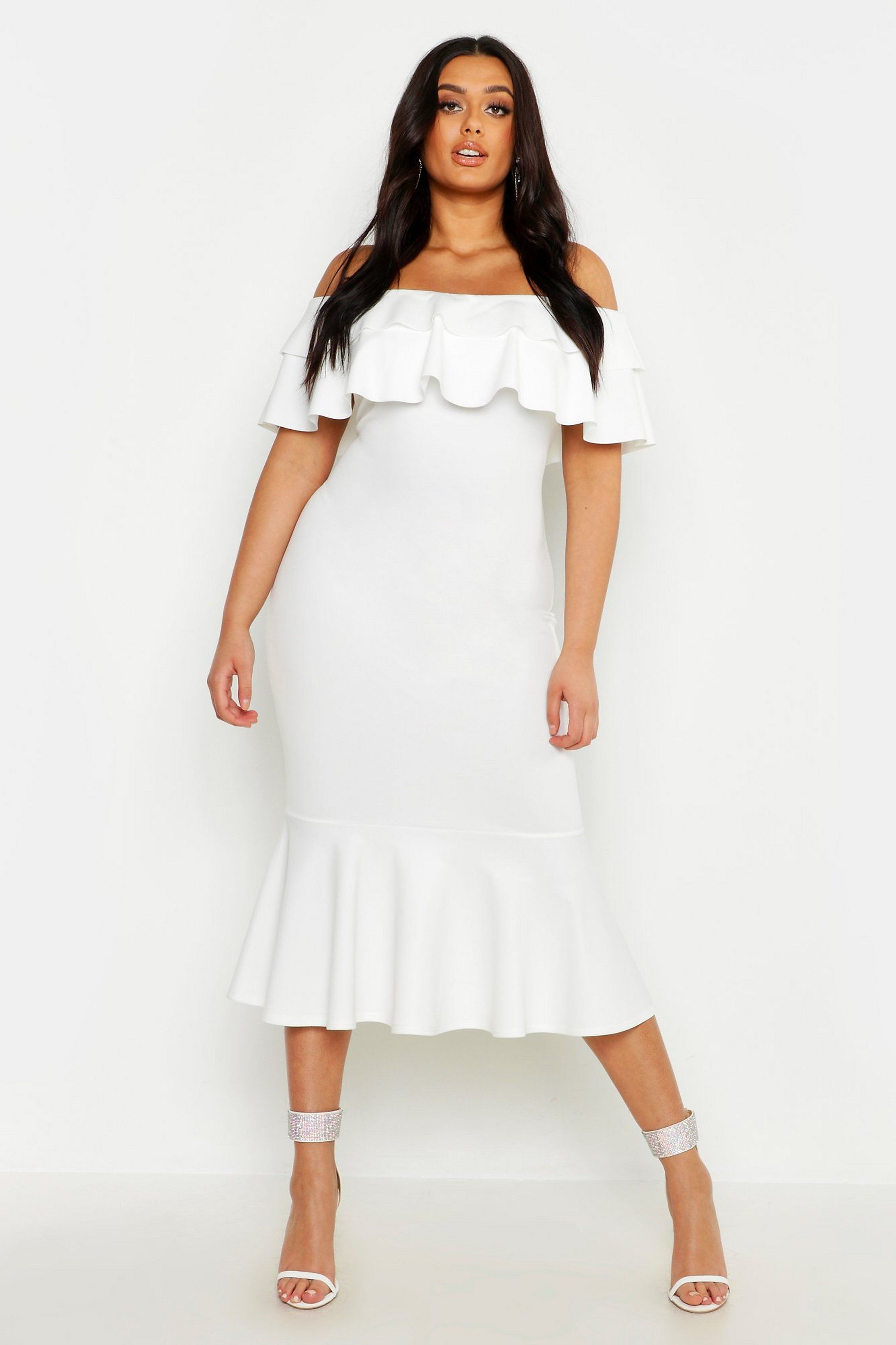 Plus Ruffle Fishtail Midi Dress Boohoo White Dress Party Stylish White Dress Fishtail Midi Dress [ 3273 x 2181 Pixel ]