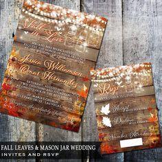 Fall in Love Rustic Wedding Invitation, Mason Jar Wedding, Fall Wedding, Autum Leaves Printed Wedding Invitation Set, Free white envelopes