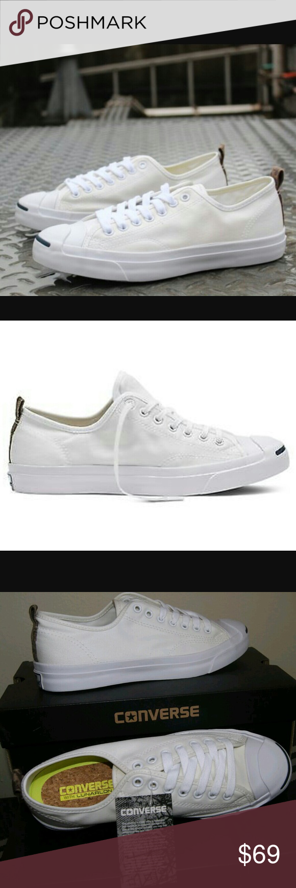 c65280ceec4b Converse Jack Purcell White Canvas Camo Lunarlon Brand New!!! Unique Converse  Jack Purcell with Camo accent on the heel and Lunarlon insoles for extra ...