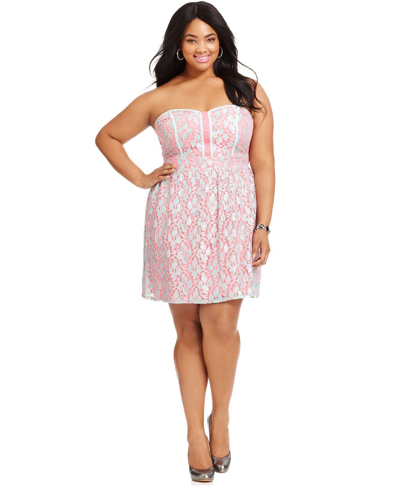 Ruby Rox Plus Size Dress, Strapless Lace A-Line - Plus Size ...