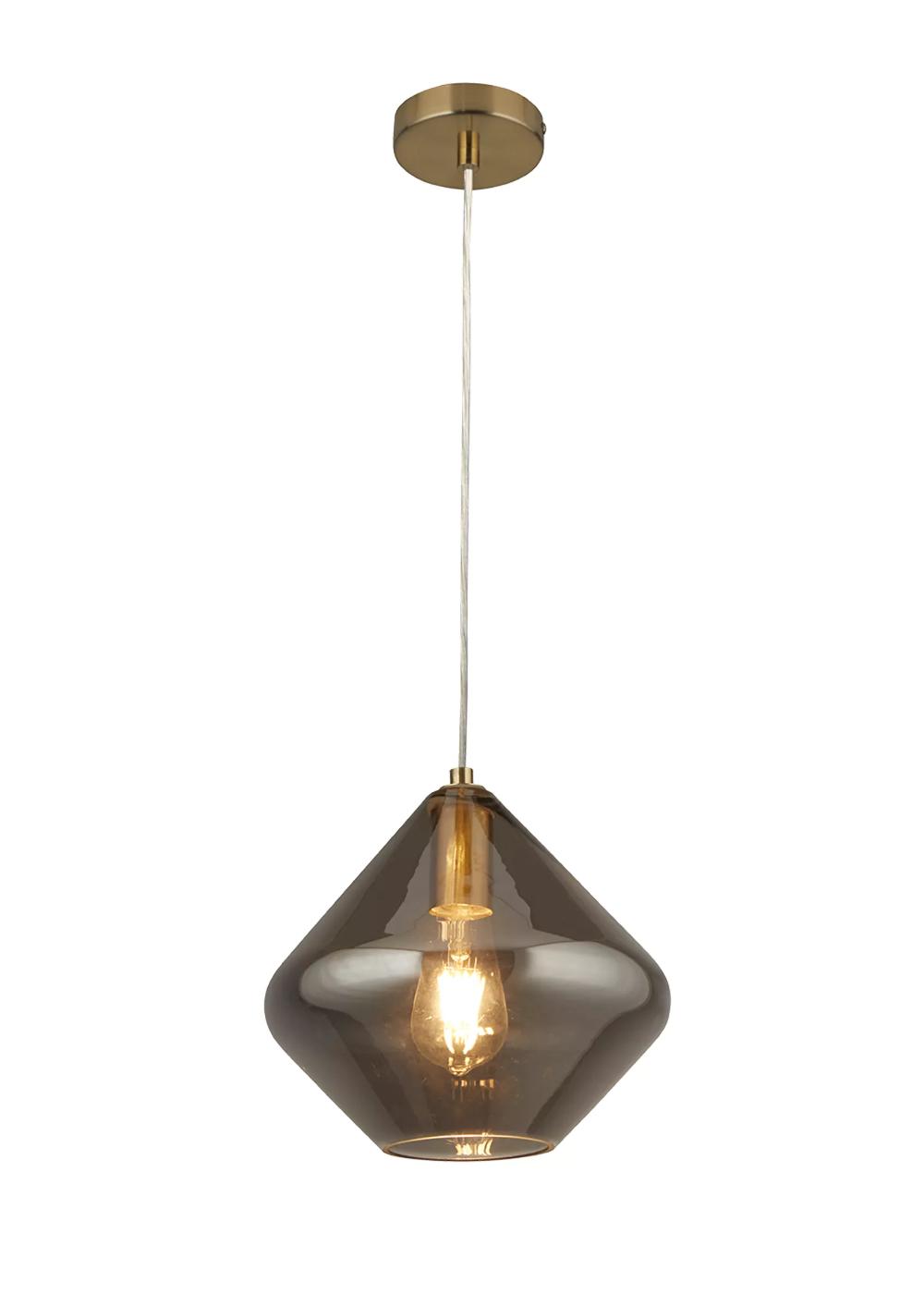 Edie Smoked Glass Pendant Drop Light H120cm X W25cm Grey Drop Pendant Lights Drop Ceiling Lighting Clear Glass Pendant Light
