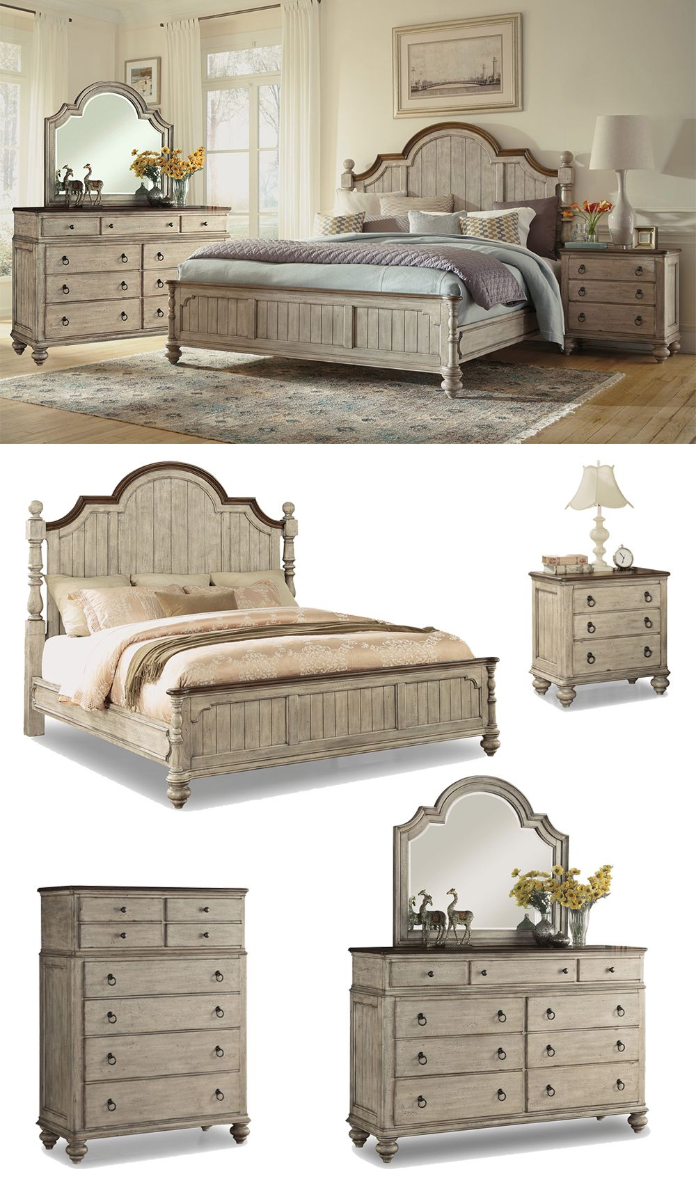 The Plymouth Bedroom Set boasts a shabby chic design with