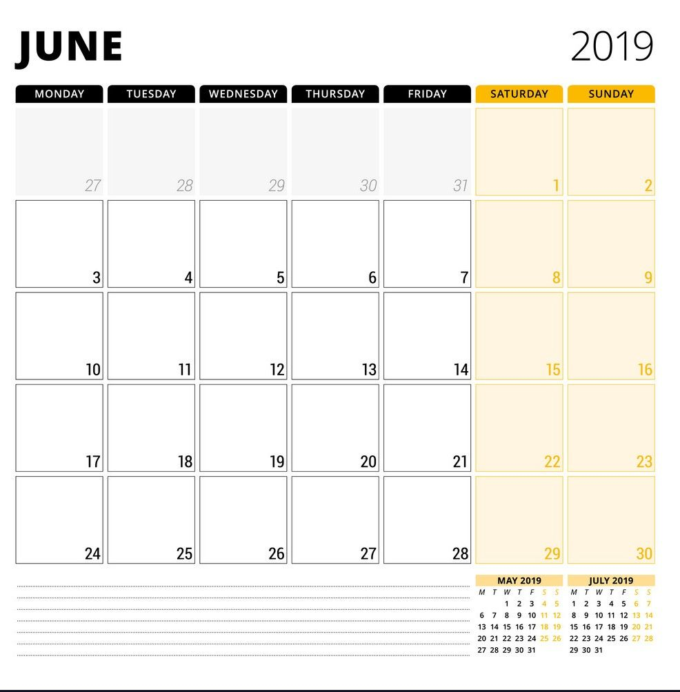 {Free} June 2020 Planner Calendar Printable Templates Word