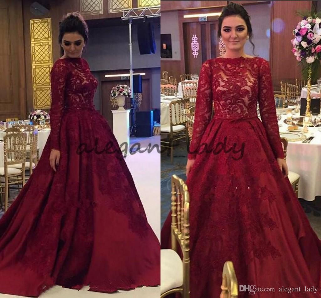 48751c5259c Luxury Burgundy Muslim Dresses Evening Wear 2018 Lace Appliques Long Sleeves  Illusion A Line Formal Prom Party Gowns Arabic Dress Overskirt Evening Dress  ...