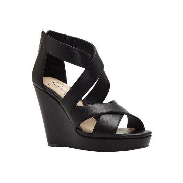 Women's Jessica Simpson Jenay Strappy Wedge ($79) ❤ liked on Polyvore  featuring shoes,