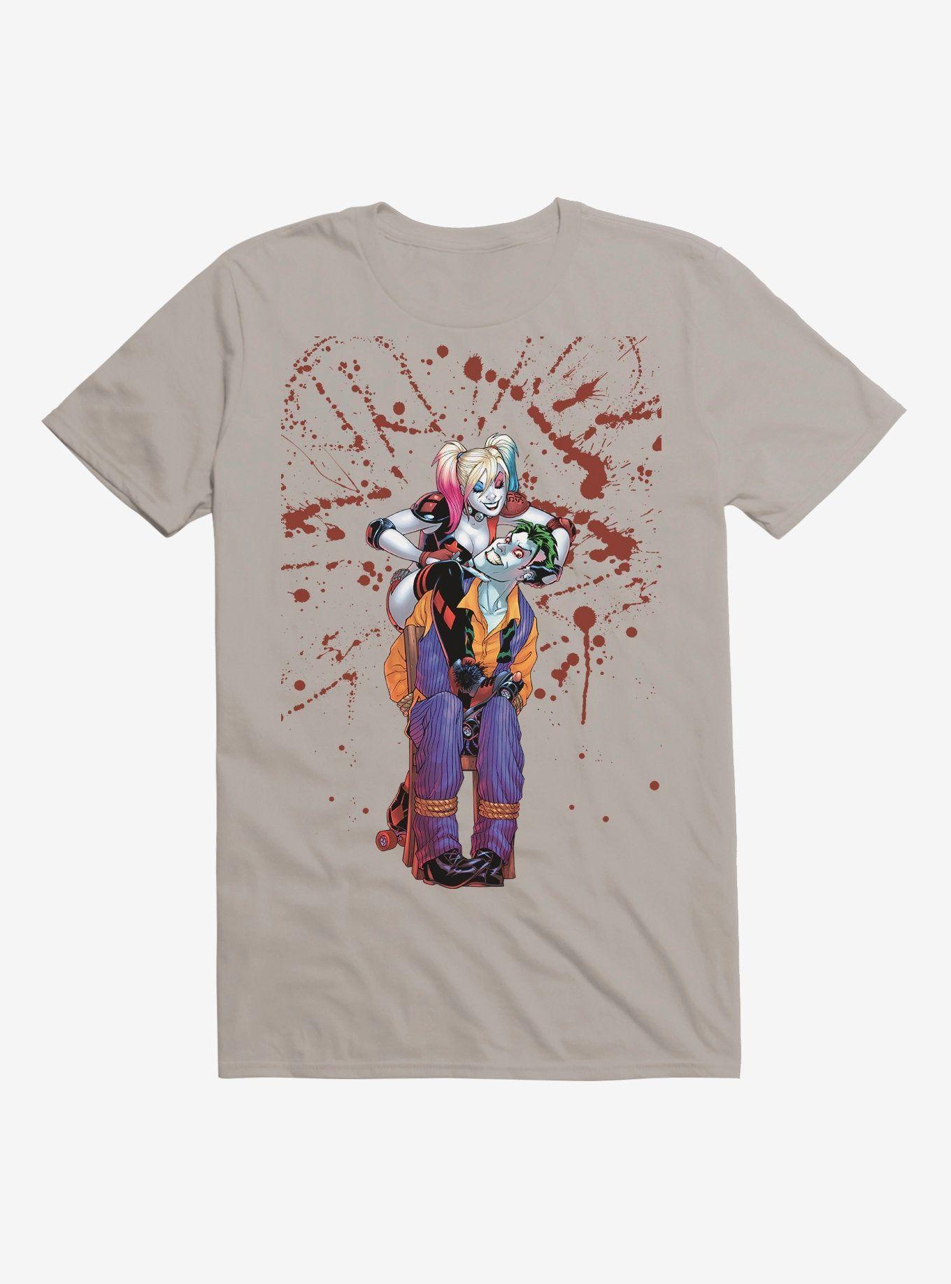 - DC Comics Batman Harley Quinn The Joker Splatter Light Grey T-Shirt, LIGHT GREY  , Long Sleeve,