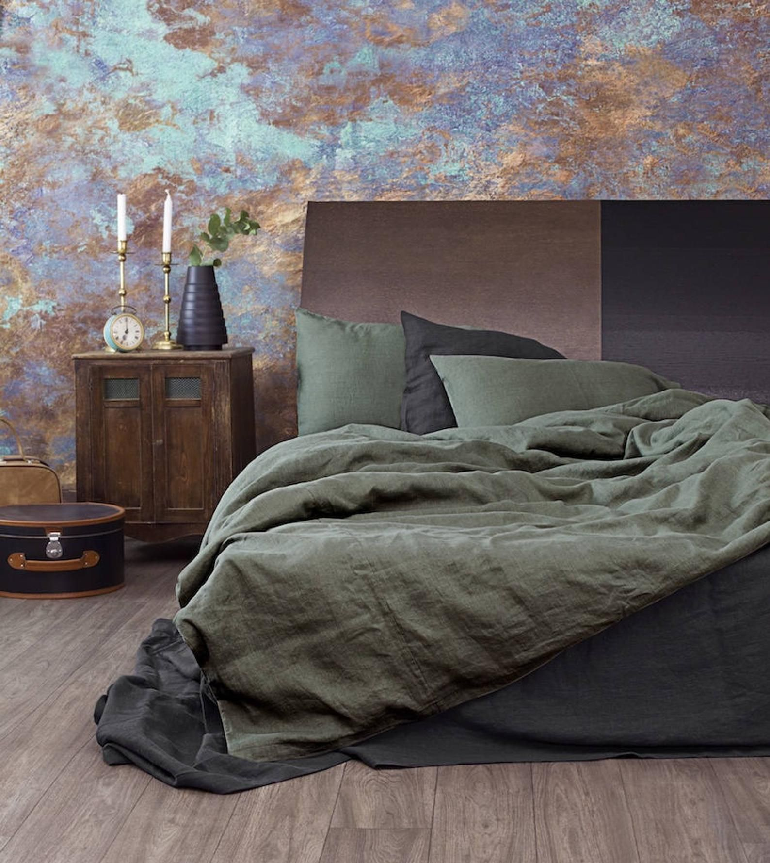 Linen Duvet Cover in Moss Green in Queen, King sizes in
