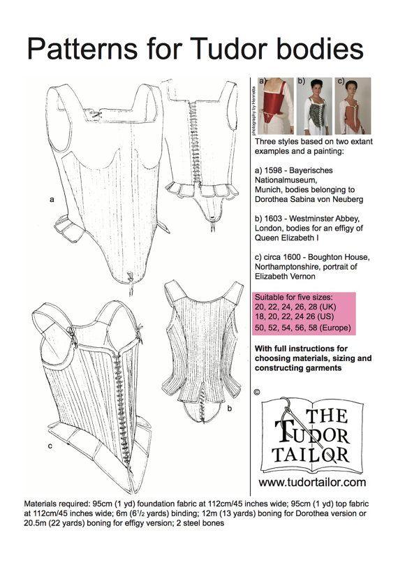 Tres estilos de cuerpos Tudor/isabelino o corsés (también llamados ...