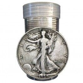 $10 Face Value Walking Liberty Half Dollars 90% Silver 20-Coin Roll (Circulated)