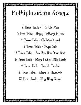 multiplication songs print out multiplication songs 12