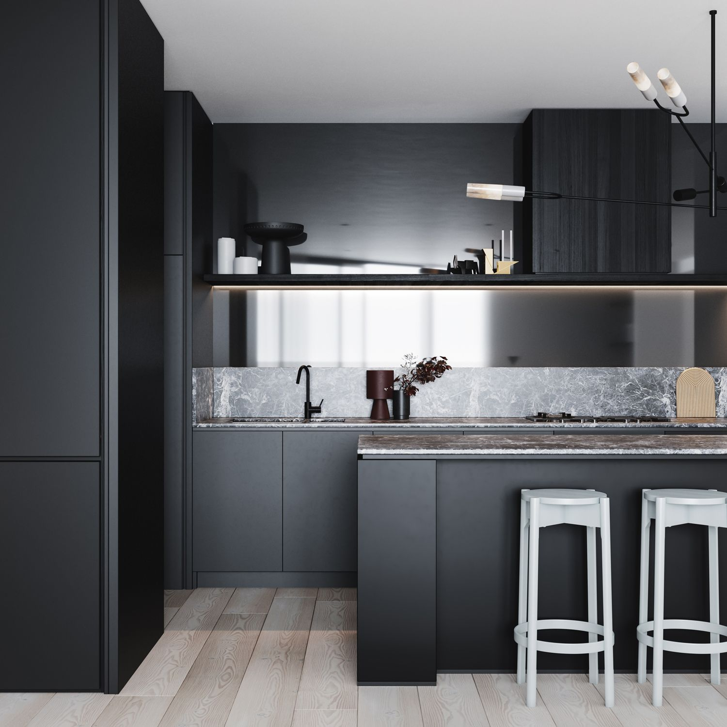 All Black Kitchen With Seamless Built In Cabinetry And Appliances