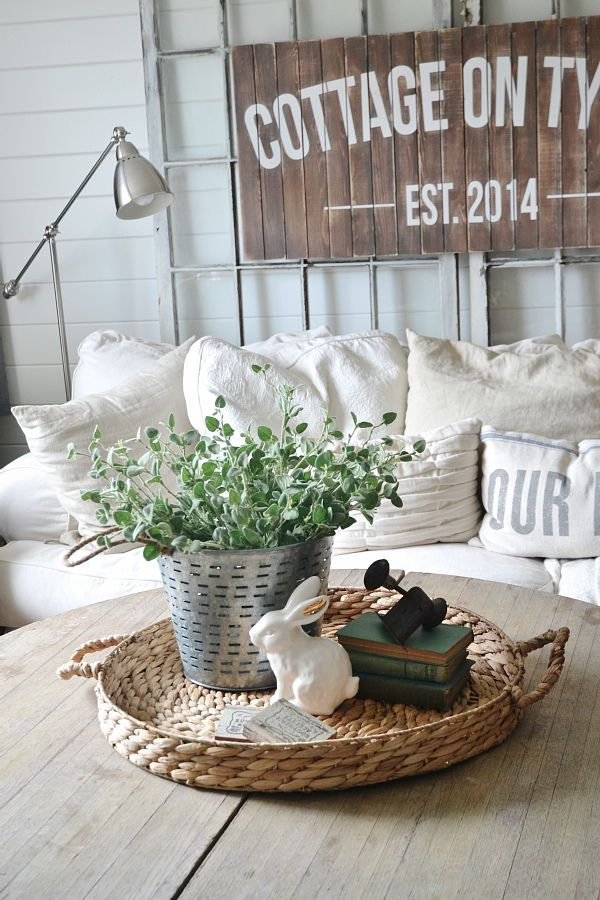 What S On My Coffee Table S April 2015 Farmhouse Coffee Table Decor Coffee Table Centerpieces Round Coffee Table Decor