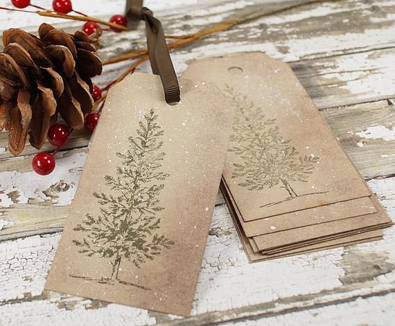 Christmas Tags Handmade - Hand Stamped Gift Tags -