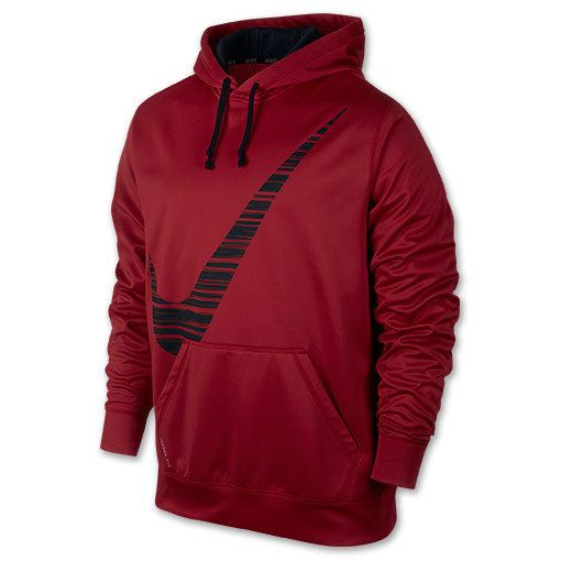 Men's nike ko hoodie blur swoosh black red sweatshirt therma-fit $55 new