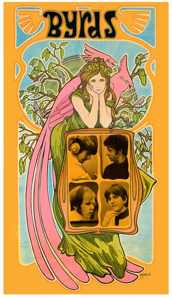 Byrds 1960s Art Nouveau Woman Poster Psychedelic Poster Vintage Concert Posters Rock Posters