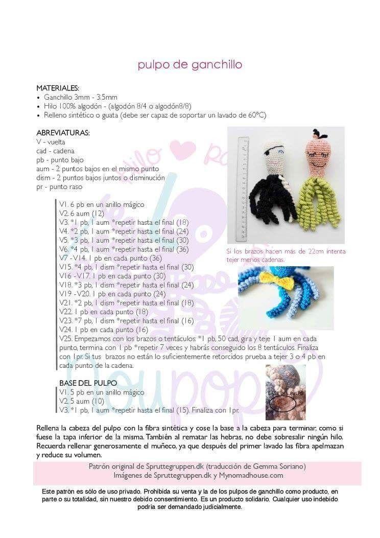 Patrón Pulpo Solidario Crochet - Mercería Peques | Mis cosas ...