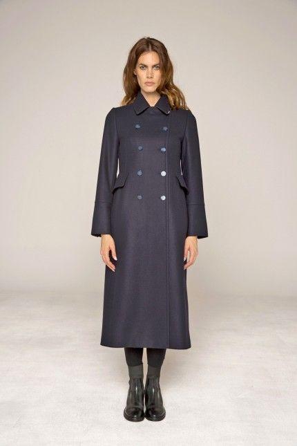 Manteau redingote femme bleu marine