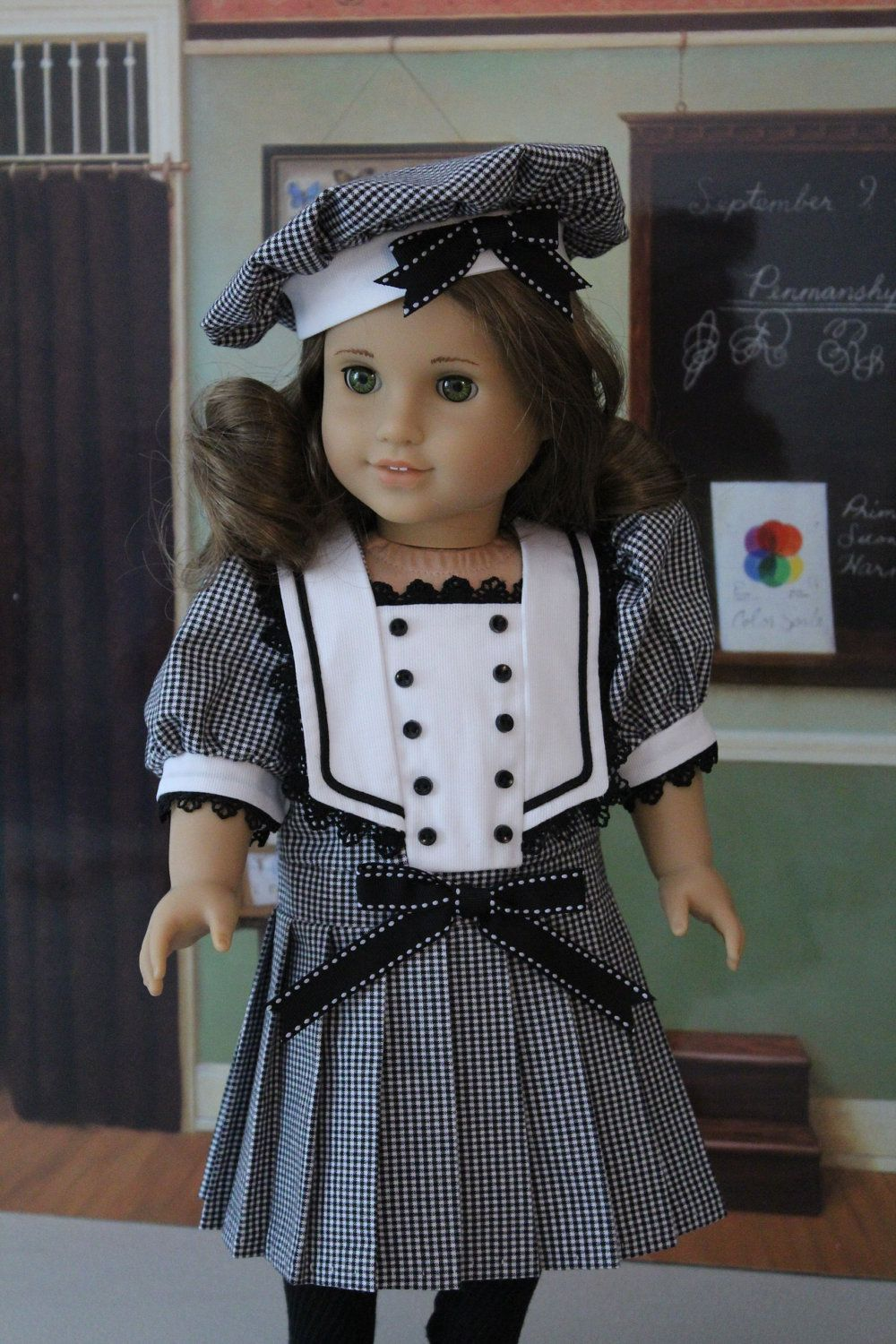 Black and White Middy Dress and Hat for American Girl Doll