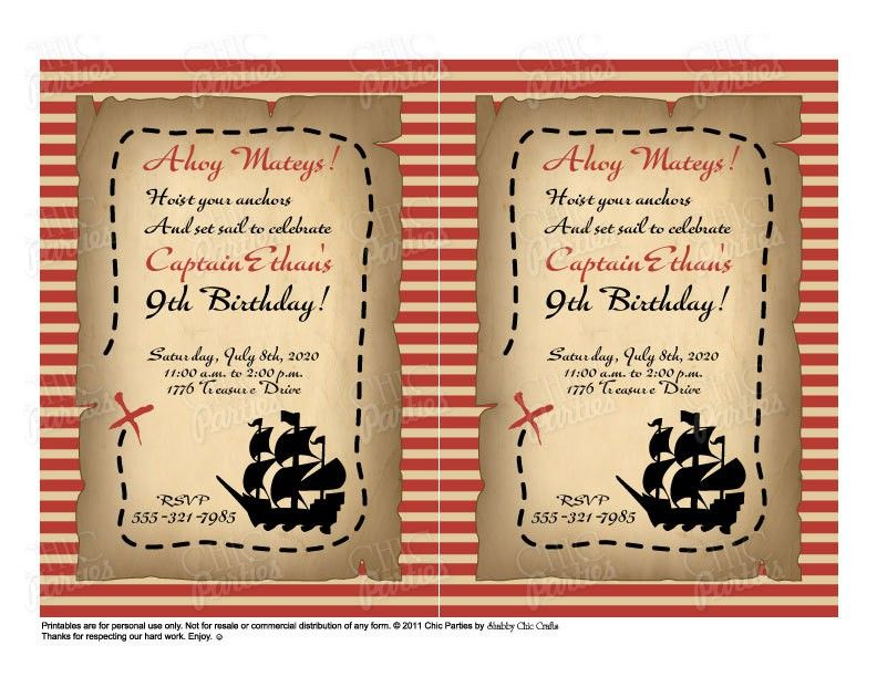 Printable Pirate Invitations Templates Free 4 – Free Printable Pirate Birthday Party Invitations