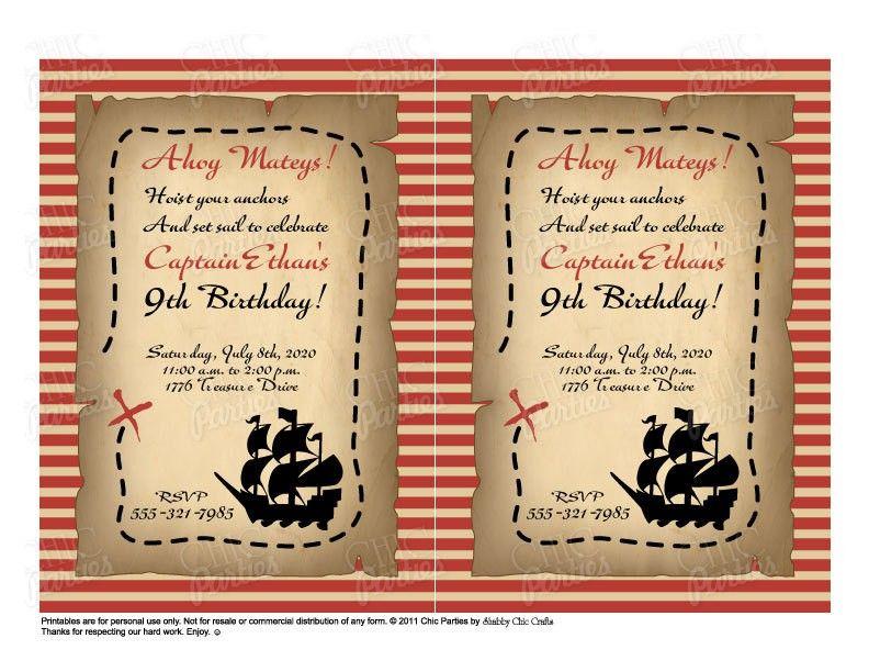 Printable Pirate Invitations Templates Free 4 | Pirate Birthday ...
