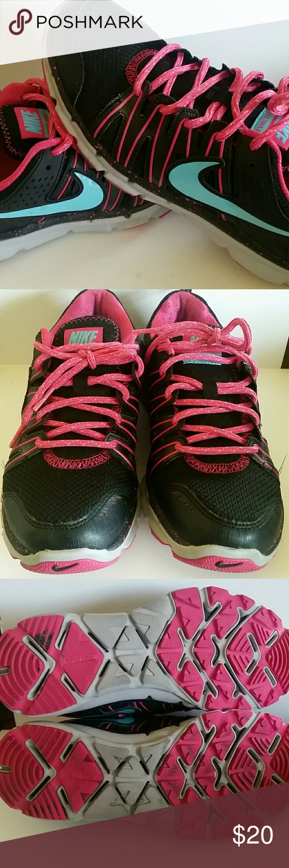 93b025036fe1d  Nike  Flex Trail 2 Fit Sole Black Pink Turquoise Gray tennis shoes. Pink  shoe strings w  turquoise stitching. Sole has pink speckle. Pre-loved.