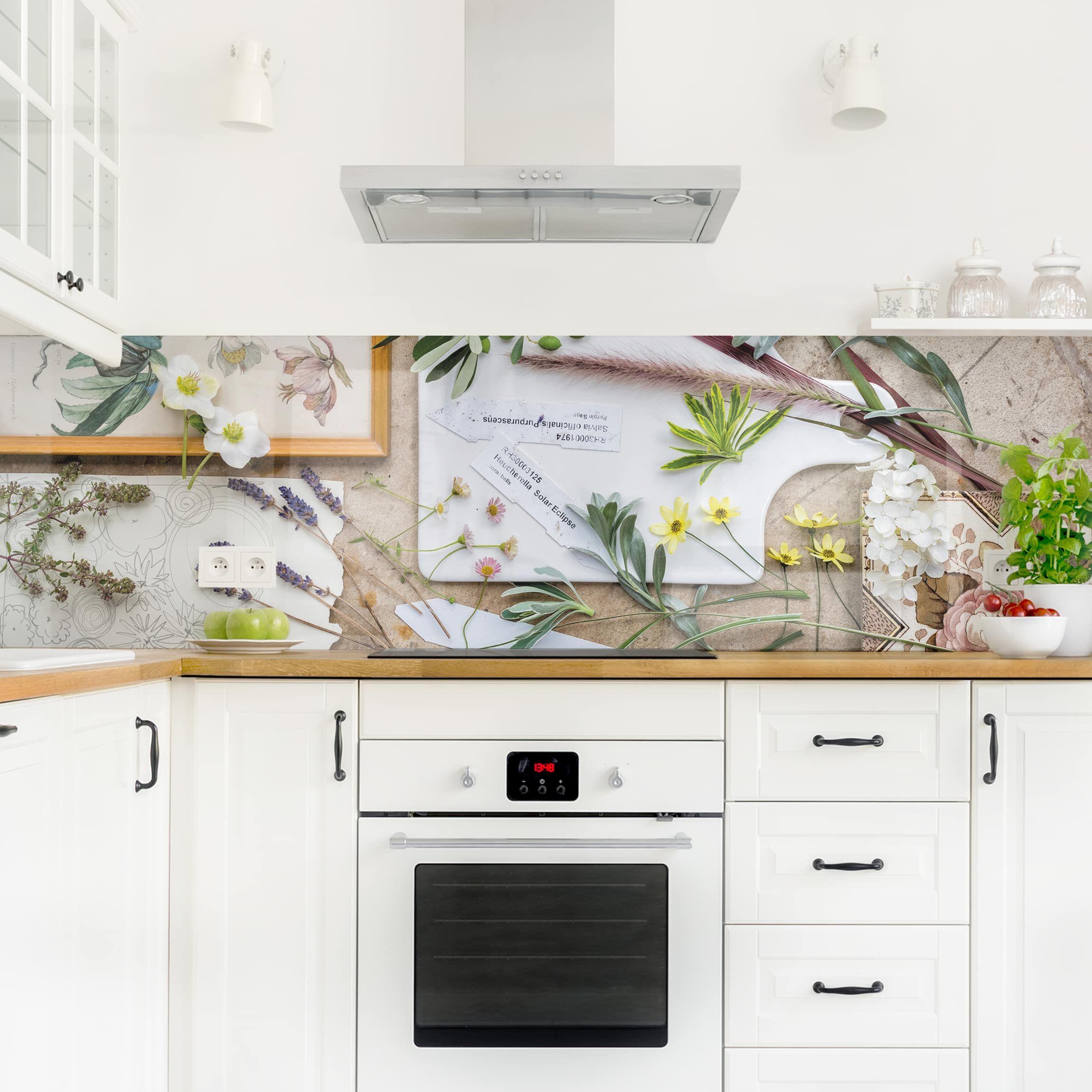 Küchenrückwand Blumen Und Gartenkräuter Vintage Küchenrückwandfolie Innenarchitektur Wohnzimmer Küchen Ideen Küchen Rückwand