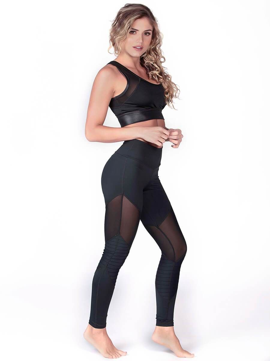190945452a982 High-waisted leggings accented with mesh inserts around the thigh and  detailed with our new lined fabric. 78% Polyester 22% Spandex