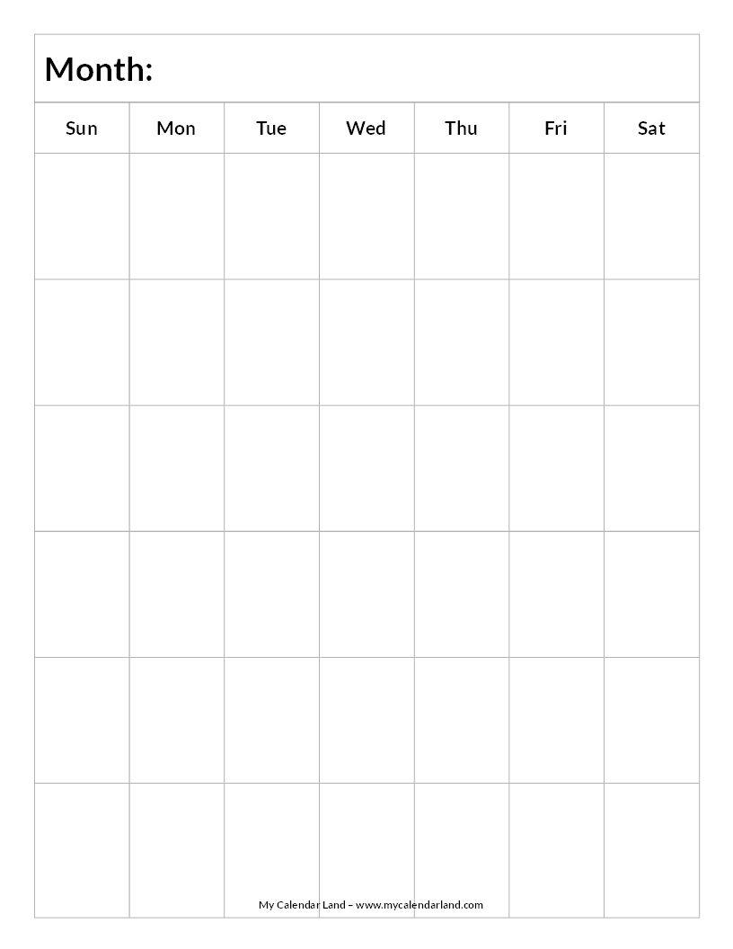 Blank Calendar 6 Weeks Portrait C Everything Else For Now