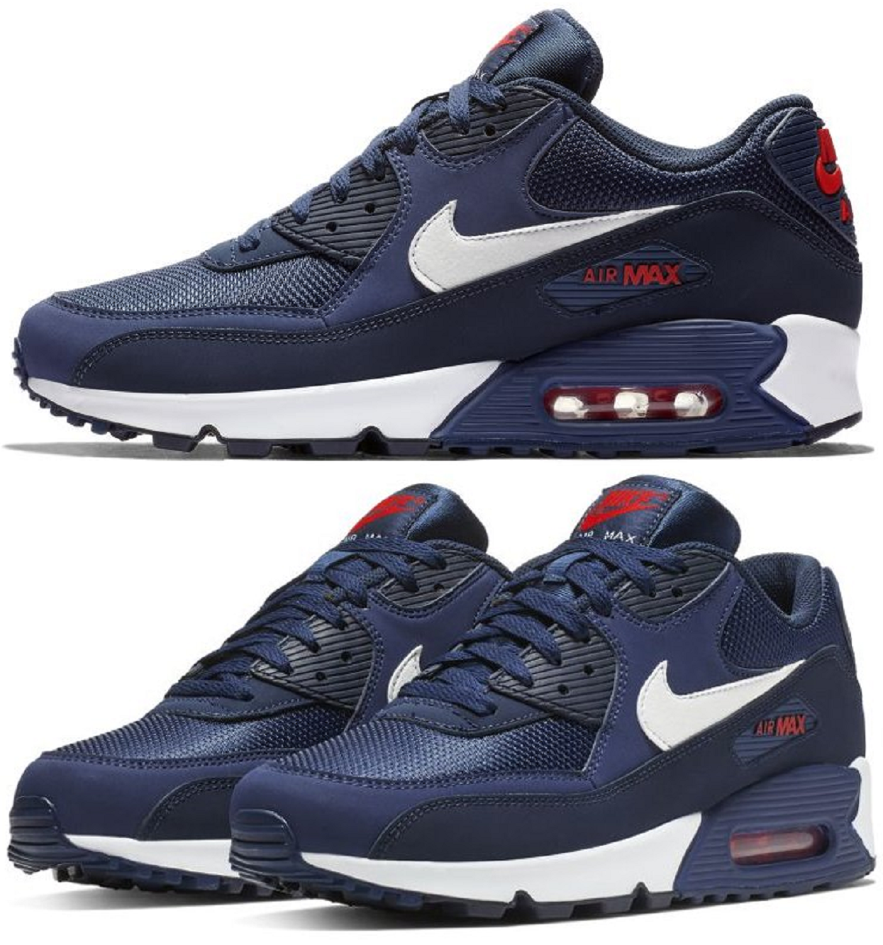 5d05515931 Nike Air Max 90 Essential Sneakers Men's Lifestyle Shoes Navy White Red |  eBay