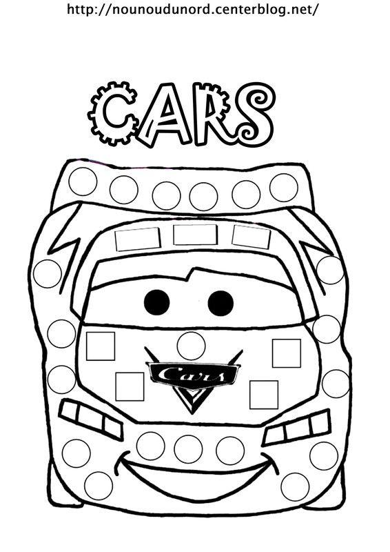 coloriage gommettes cars dessin par nounoudunord
