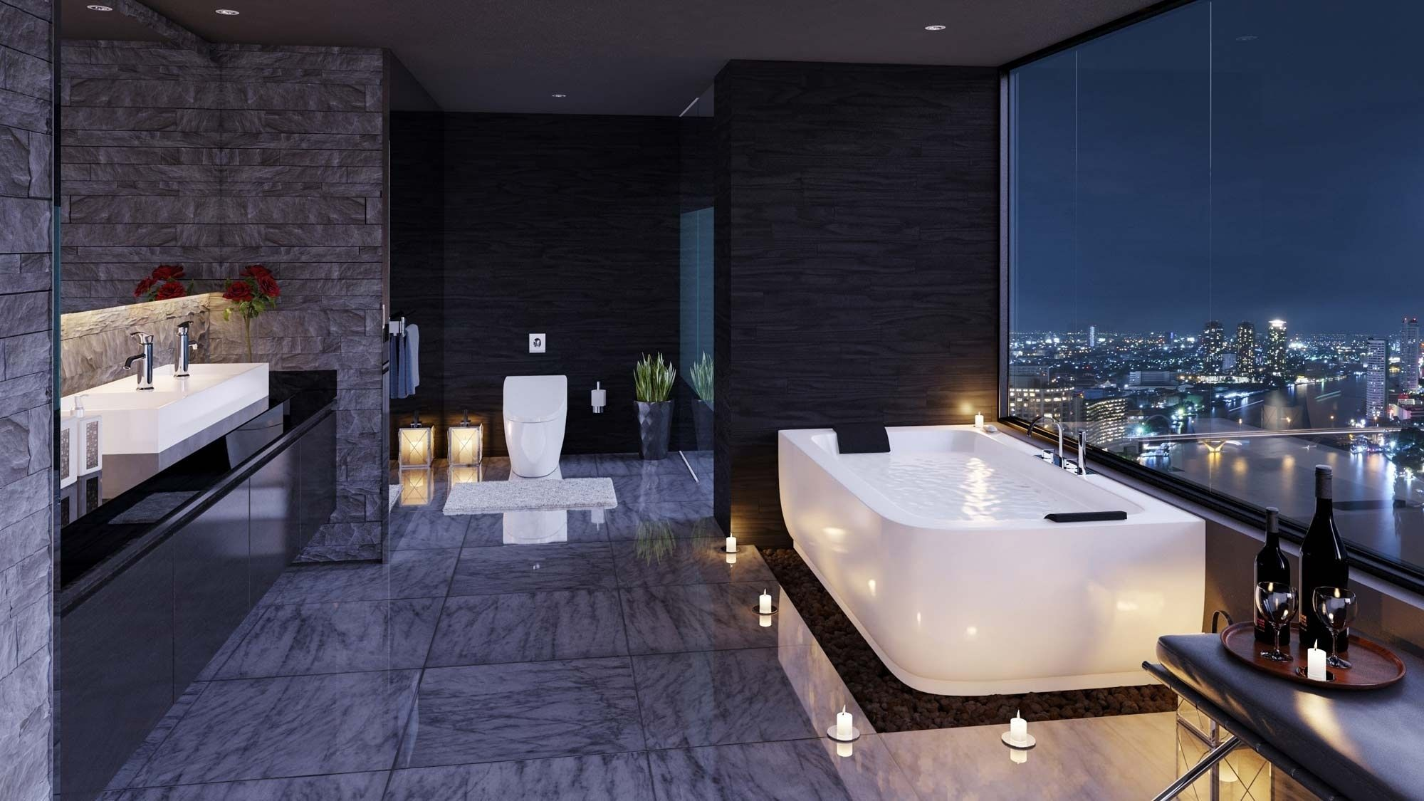 40 Stunning Luxury Bathrooms With Incredible Views Modern Luxury Bathroom Bathroom Design Luxury Modern Bathroom Design