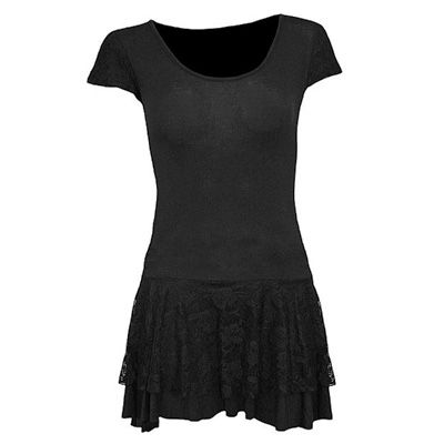 Gothic fantasy metal jurk met kanten onderkant zwart