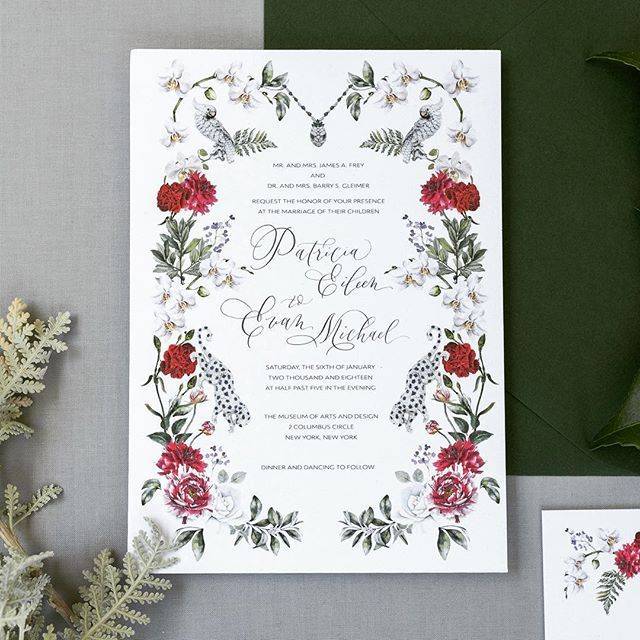 nyc winter inspired wedding invitations with accents of cartier