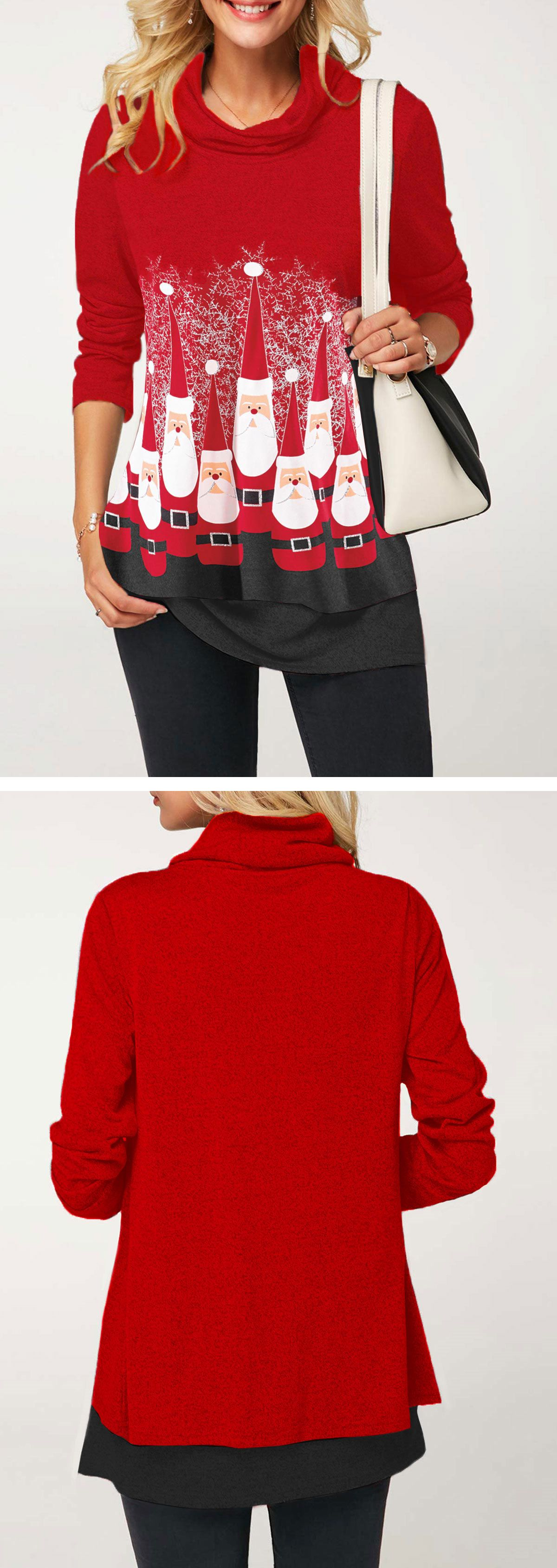Long sleeve santa claus print red t shirt in christmas