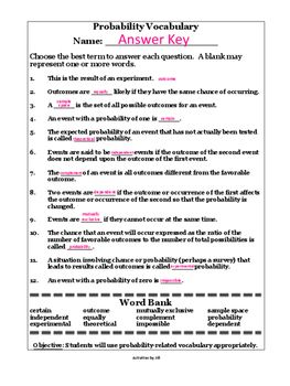 Probability Terms Worksheet with Word Bank   Probability ...