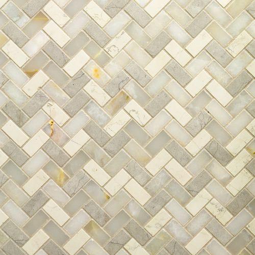 Four Color Herringbone Mixed Finish Mosaic 12 1 4 X 10 3