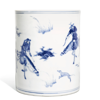 A Blue and White 'Hunting' Brushpot, Bitong Qing Dynasty, Kangxi Period - Sotheby's