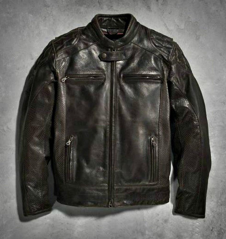 Harley Davidson Men S Black Label 1 Vintage Leather Jacket Dark Brown Slim Fit [ 1000 x 944 Pixel ]
