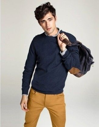 Men's Navy Crew-neck Sweater, Grey Long Sleeve Shirt, Tobacco Jeans, Charcoal Backpack